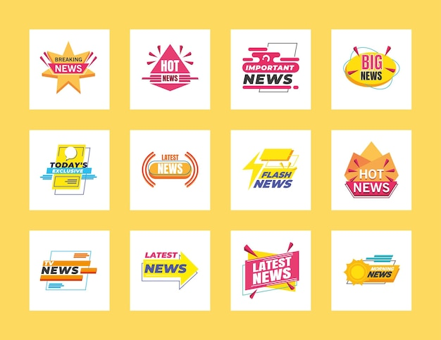 News banners and labels symbol set design, technology channel communication and tv theme  illustration