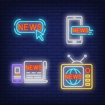 News button, tv set, newspaper and smartphones neon signs