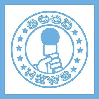 News communication blue sticker hand holding microphone