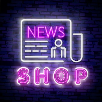 News concept banner in fashionable neon style, luminous signboard