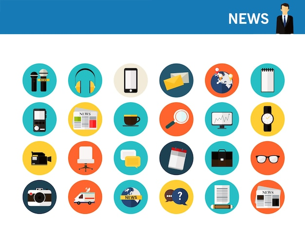 News concept flat icons.