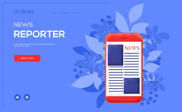 News concept flyer, web banner, ui header, enter site. .