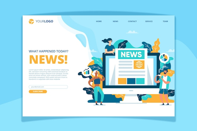 News concept landing page template