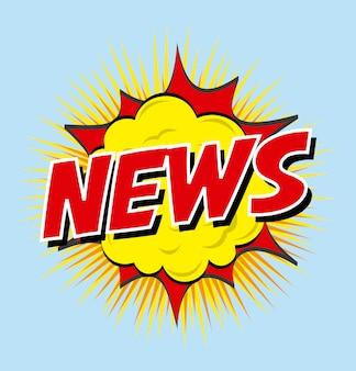 Дизайн новостей на синем фоне векторных иллюстраций Premium векторы