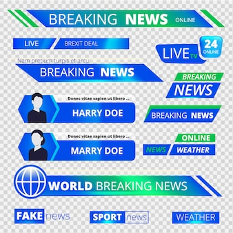 News graphic banners. breaking television broadcast sport header banners vector graphic