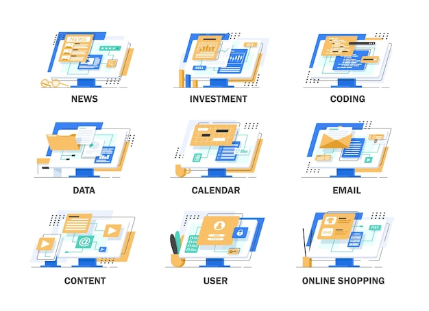 ニュース、投資、コーディング、データ、カレンダー、メール、コンテンツ、ユーザー、オンラインショッピング、フラットデザインイラスト