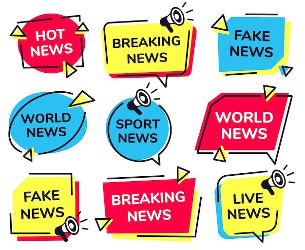 ニュースレーベル。速報、スポーツの生中継、フェイクニュースのバッジが設定されています。