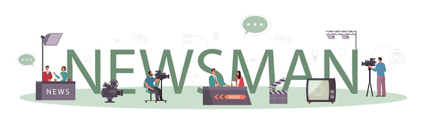 News man typographic header concept. television host in studio.
