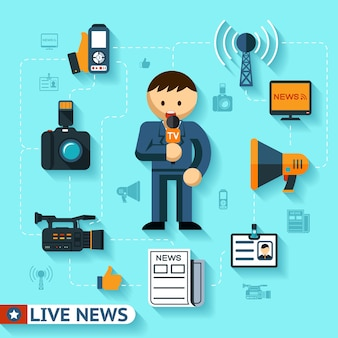 News and mass media vector concept, journalist and journalism flat icons