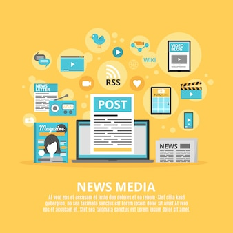 News media flat icons composition poster
