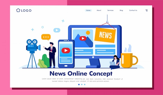 News online concept landing page website  illusration