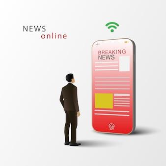 뉴스 온라인 개념. 남자는 스마트 폰에 뉴스를 읽고 서있다. 휴대 전화 뉴스 앱. 전자 매스 미디어.