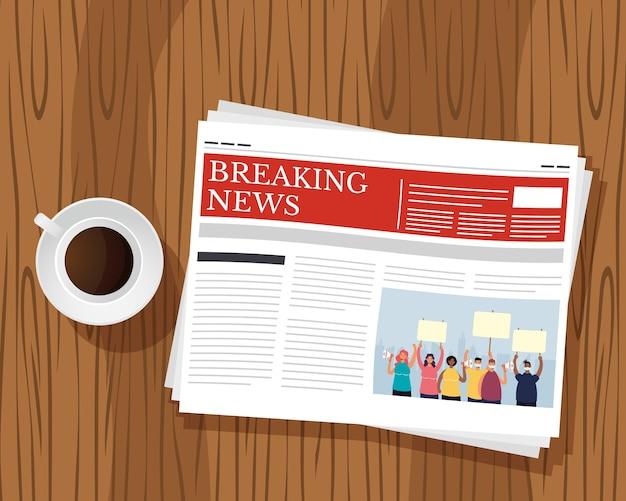 新聞通信と木製の背景イラストのコーヒーカップ