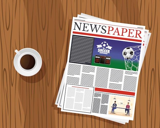新聞通信と木製テーブルのコーヒーカップ