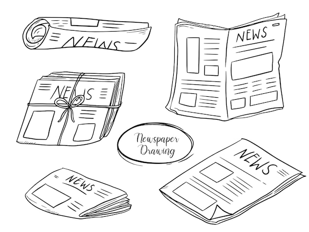 News paper set doodle drawing collection