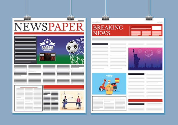 News papers communication hanging with clips illustration