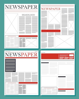 News papers communication set columns pattern illustration