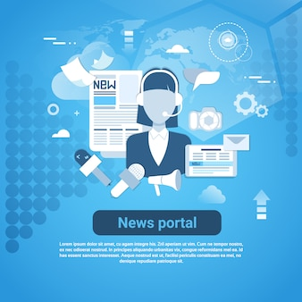 News portal web banner with copy space on blue background