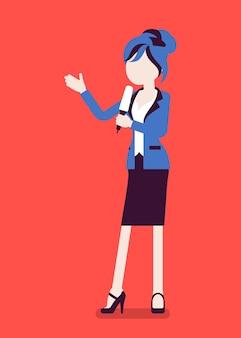Ведущий новостей, женщина-читательница новостей, ведущий новостей. молодая женщина с микрофоном телевизионного интервью, ведущий, представляющий последние новости, информацию. векторная иллюстрация, безликий персонаж