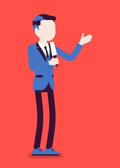 Ведущий новостей, мужской диктор новостей или телеведущий. молодой человек с микрофоном телевизионного интервью, ведущий стоит, представляя последние новости и информацию. векторная иллюстрация, безликий персонаж