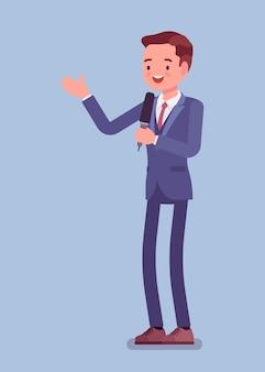 뉴스 발표자, 남성 뉴스 리더 또는 뉴스 캐스터 방송