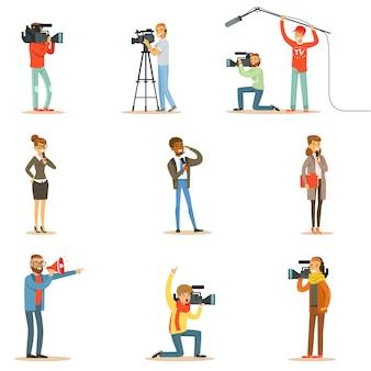 News program crew of professional cameramen and journalists creating tv broadcast