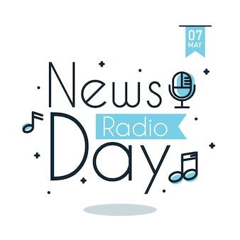 News radio day greeting vector