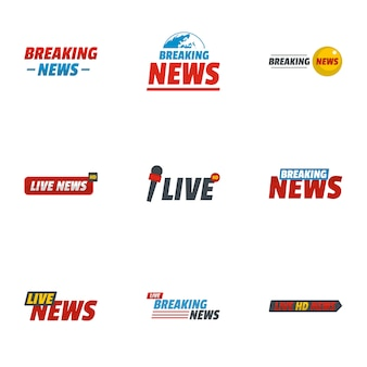 News report icons set, flat style