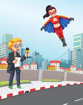 News reporter urban scene with super hero