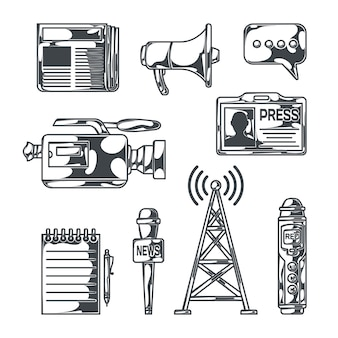 Notizie impostate con immagini in stile schizzo isolato di apparecchiature di trasmissione, registratori portatili, giornale del blocco note e illusration di vettore di identità