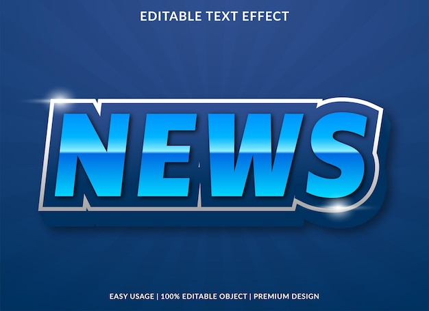 News text effect template design with abstract style