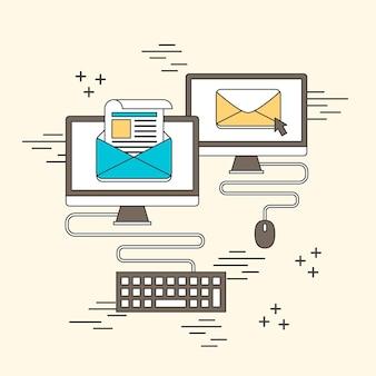 뉴스레터 개념: 선 스타일의 전자 메일 및 컴퓨터