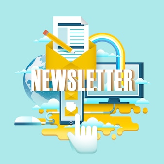 Newsletter concept , a hand click on smartphone