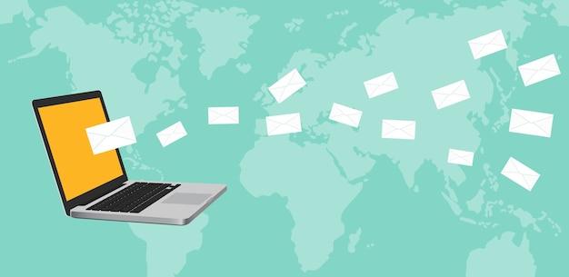 ノートパソコンのノートパソコンでニュースレターの概念のイラスト