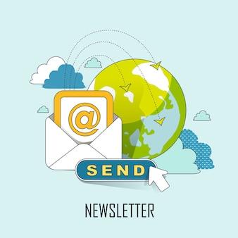 뉴스레터 개념: 선 스타일로 전자 메일을 보낼 준비가 되었습니다.