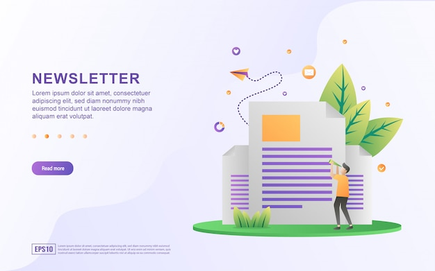 Newsletter flat design concept.