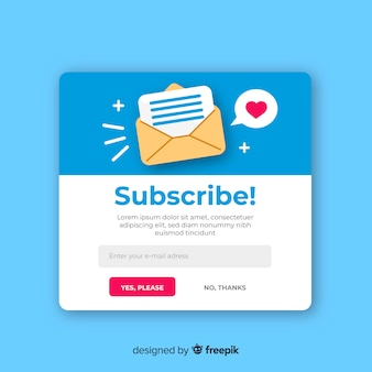 Newsletter form flat background
