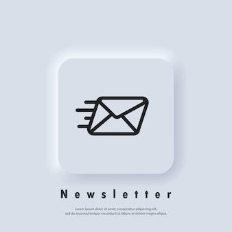 Newsletter logo. envelope icon. email and messaging icons. email marketing campaign. vector eps 10. ui icon. neumorphic ui ux white user interface web button. neumorphism