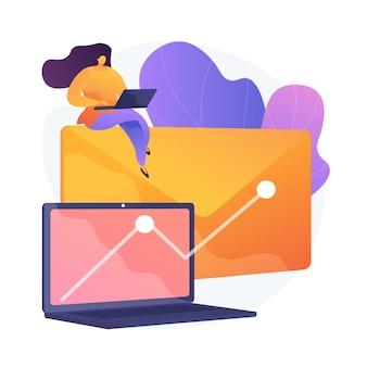 Newsletter redditizia campagna promozionale. posta elettronica, internet, marketing. crescita del grafico sullo schermo del computer. strategia pubblicitaria di successo.