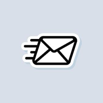 Наклейка информационного бюллетеня. значок конверта. значки электронной почты и обмена сообщениями. электронная маркетинговая кампания. вектор на изолированном фоне. eps 10.