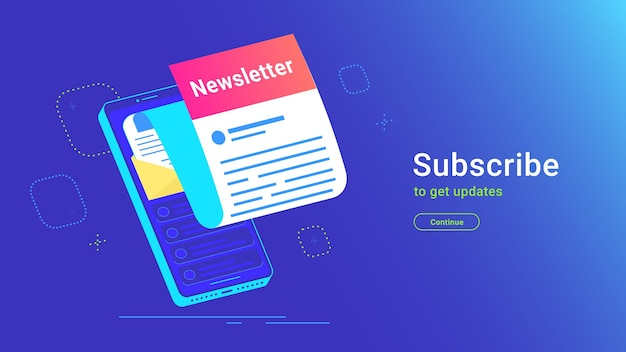 Newsletter subcription online in mobile app. vector gradient illustration of isometric smartphone with new monthly letter flying out of screen for staying up-to-date and get news and recent updates