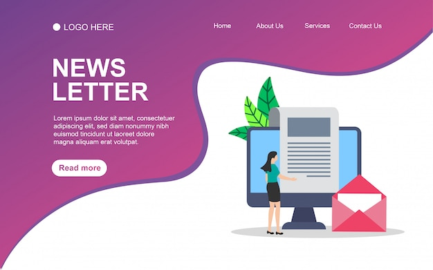 Newsletter  with people character for web landing page template.