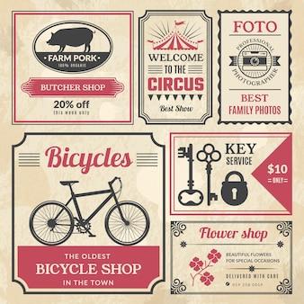 Газетные баннеры. винтажная реклама обрамляла старые значки или рекламные баннеры, сми, новости, рекламные векторные шаблоны. старая газета рекламная страница, баннер старинные антикварные иллюстрации