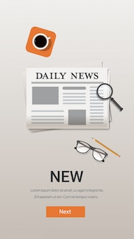 Newspaper daily news communication mass media concept desk top angle view vertical copy space