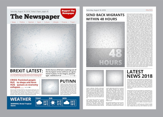 Newspaper design. headline journal template with place for your text and images layout  brochure.