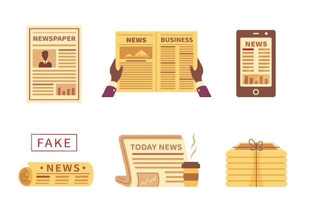 漫画の新聞のさまざまなアイコン。タイプと白い背景で隔離の写真と新聞のセットです。フェイクニュース。