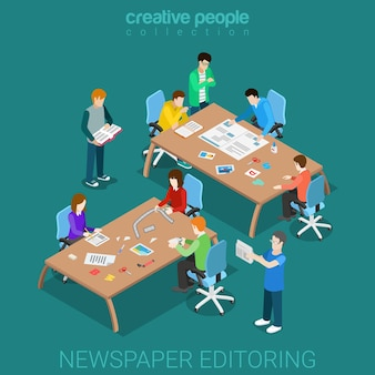 Newspaper editoring teamwork flat isometric