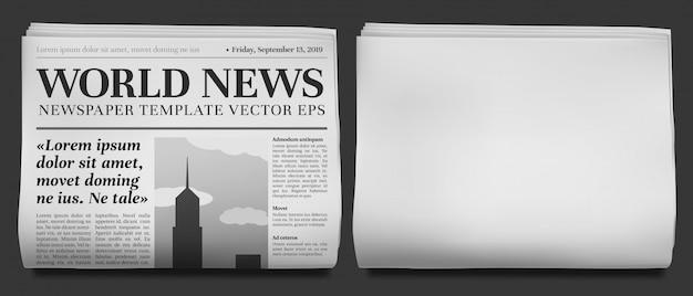 Newspaper headline. business news tabloid folded in half, financial newspapers title page and daily journal  illustration