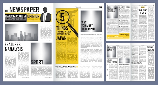 Newspaper headline. press layout template of newspaper cover and pages with articles  design
