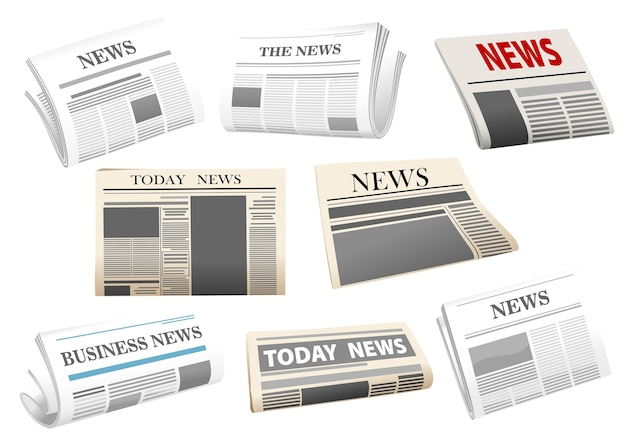 Newspaper illustration with headers isolated on white for media design